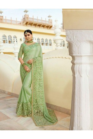 Pista green silk Indian wedding wear saree 5001