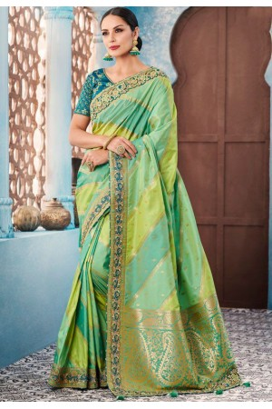 Pista green stripes Indian wedding wear silk saree 7001