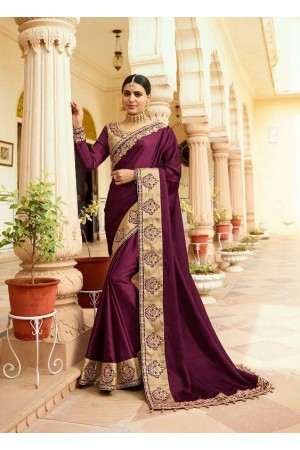 Purple silk Indian wedding wear saree 5014