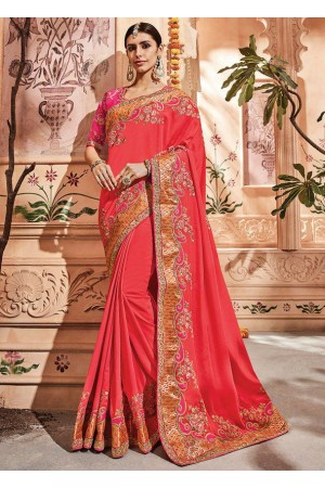 Salmon silk Indian wedding wear saree 1902