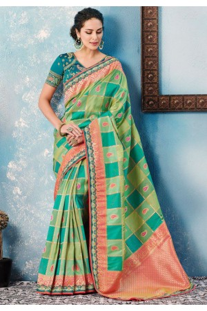Teal rama green checked Indian wedding wear silk saree 7005