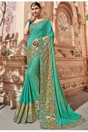Turquoise silk Indian wedding wear saree 1912