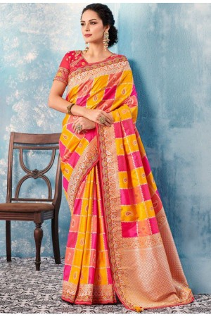Yellow red checked Indian wedding wear silk saree 7010