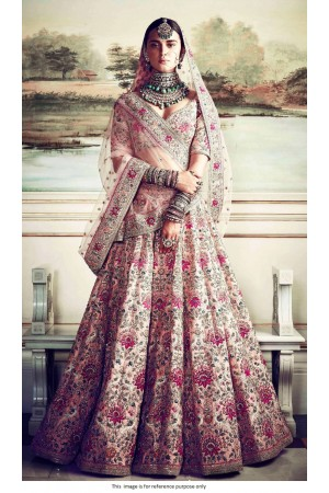 Bollywood Sabyasachi Inspired Peach silk wedding lehenga
