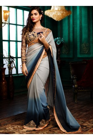 Grey to blue shaded georgette designer party wear saree