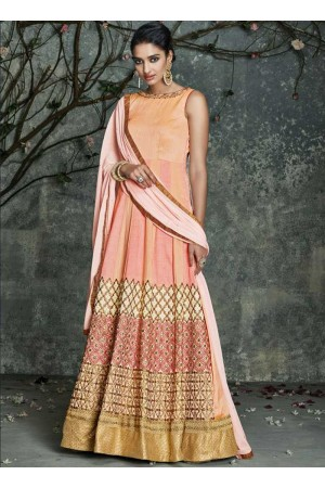 Peach color pure silk embroidered party wear salwar kameez