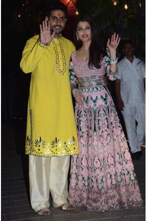 Bollywood style Aishwarya rai green color joya silk suit