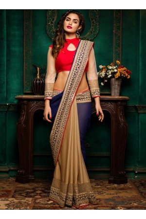 Blue with beige georgette and silk chiffon party wear saree