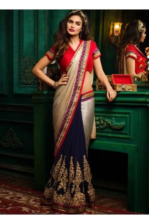 Blue and beige color satin georgette designer party wear saree