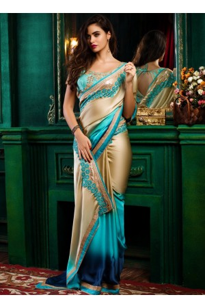 Cream with blue shaded satin designer party wear saree