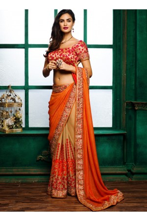 Orange colour georgette with silk chiffon designer party wear saree