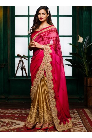 Pink with maroon color tie and dye crepe satin designer party wear saree