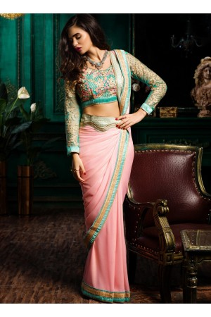 Pink turquoise color georgette designer party wear saree