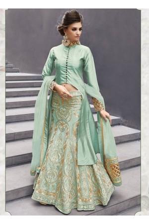 Pista color georgette party wear lehenga choli 2-in-1 style
