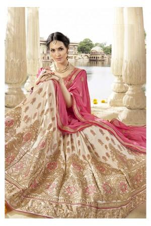 Beige Colored Embroidered Art Silk Wedding Lehenga Choli 1306