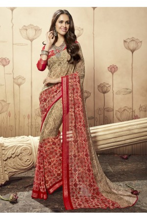 Beige Colored Printed Faux Georgette Saree 1609