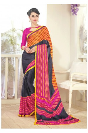 Black Colored Printed Faux Georgette Saree 61001