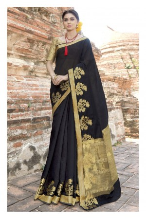 Black Colored Woven Art Silk Officewear Saree 5211