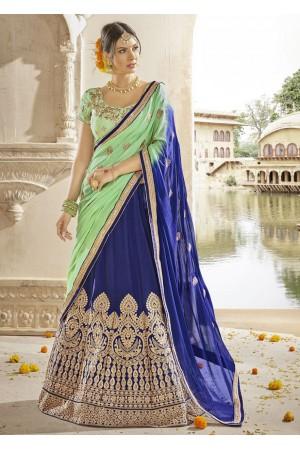 Blue Colored Embroidered Art Silk Wedding Lehenga Choli 1310