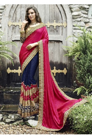 Blue Colored Embroidered Chiffon Art Silk Wedding Saree 1025