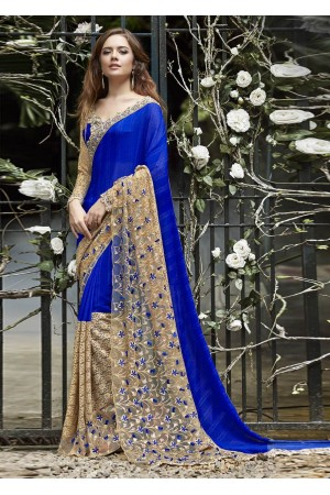 Blue Colored Embroidered Faux Georgette Festive Saree 96074