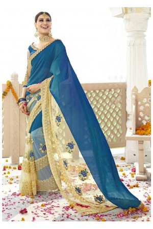 Blue Colored Embroidered Faux Georgette Net Partywear Saree 96059