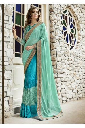 Blue Colored Embroidered Net Wedding Saree 1026
