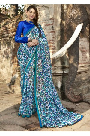 Blue Colored Printed Faux Georgette Saree 2006