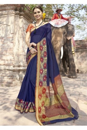 Blue Colored Woven Art Silk Festive Saree 5205