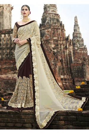 Brown Colored Embroidered Chiffon Net Partywear Saree 1039