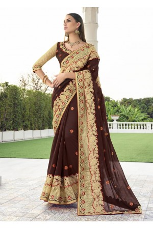 Brown Colored Embroidered Faux Georgette Net Festive Saree 1402