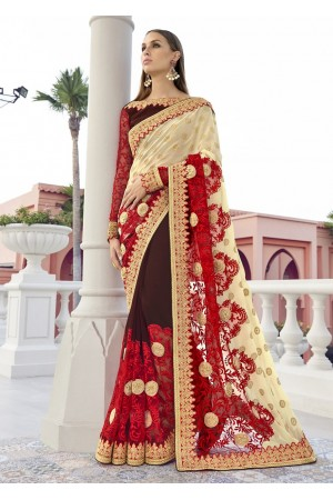 Brown Colored Embroidered Faux Georgette Net Festive Saree 1408