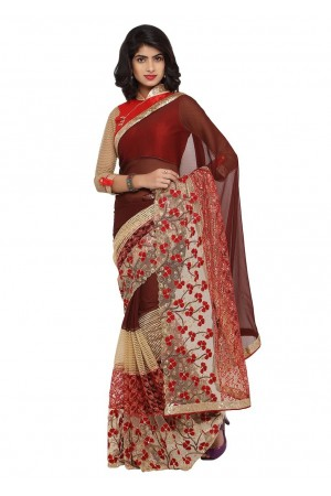 Brown Colored Embroidered Faux Georgette Net Saree 96056