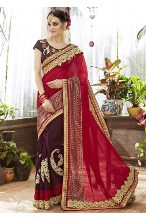 Brown Faux Georgette Half n Half Embroidered Saree 87064