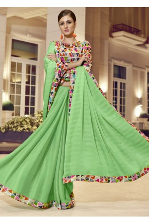 Green Chiffon Border Worked Saree 1022