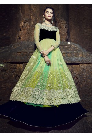 Green Chiffon Embroidered Circular Lehenga Choli 88011