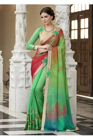 Green Colored Border Worked Satin Chiffon Festive Saree 97049