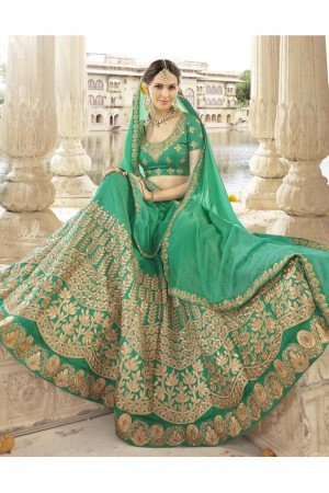 Green Colored Embroidered Art Silk Wedding Lehenga Choli 1302