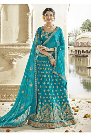 Green Colored Embroidered Art Silk Wedding Lehenga Choli 1304