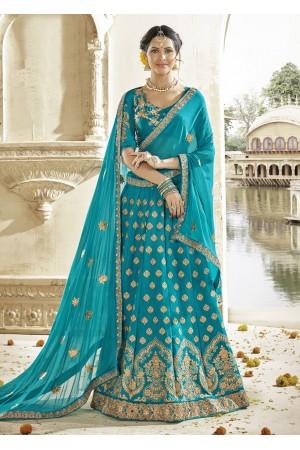 Green Colored Embroidered Art Silk Wedding Lehenga Choli 1304