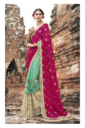 Green Colored Embroidered Crape Net Partywear Saree 1037