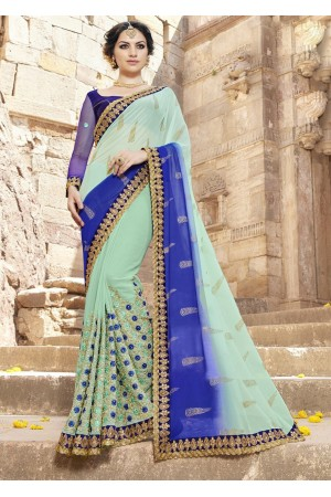 Green Colored Embroidered Faux Georgette Festive Saree 87096