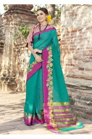 Green Colored Woven Art Silk Festive Saree 5209
