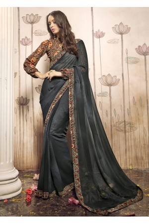 Grey Colored Printed Faux Georgette Saree 31026