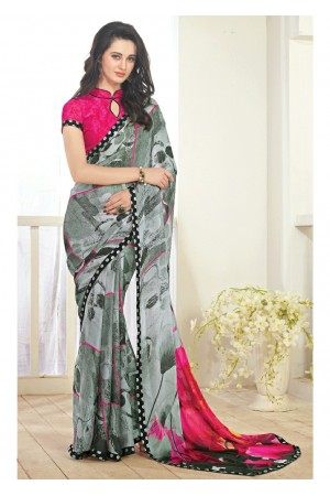 Grey Colored Printed Faux Georgette Saree 61002