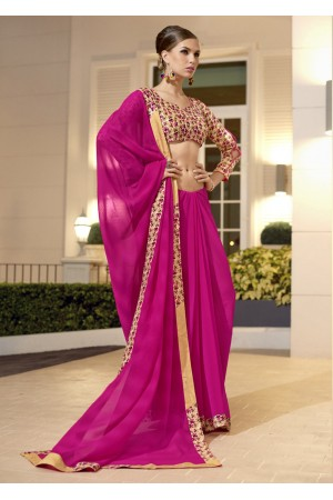 Magenta Chiffon Border Worked Saree 1023