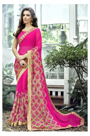 Magenta Colored Border Worked Chiffon Festive Saree 96073