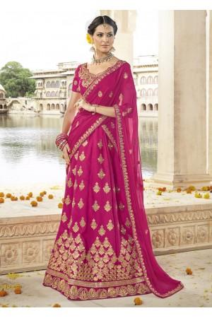 Magenta Colored Embroidered Art Silk Bridal Lehenga Choli 1301