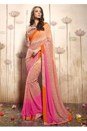 Multi Colored Printed Faux Georgette Saree 31033