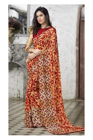 Multi Colored Printed Faux Georgette Saree 31118